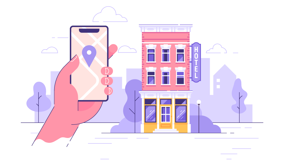 Illustration of hotel and phone