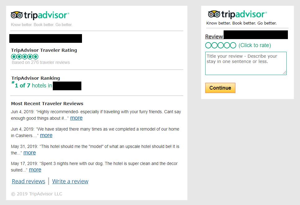 Sample TripAdvisor review widget.